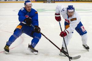 Na snímke vľavo Radovan Puliš a vpravo Rastislav Špirko počas tréningu slovenskej hokejovej reprezentácie v rámci Euro Hockey Challenge v nemeckom Kaufbeurne 12. apríla 2019.