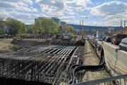 Práce na novom mostnom objekte na Levočskej ulici.