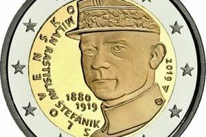 Pamätná minca k stému výročiu Štefánikovho úmrtia.