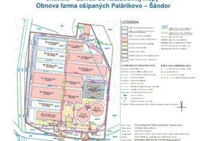 Plán budúcej podoby farmy. Červenou sú budovy, ktoré majú postaviť.