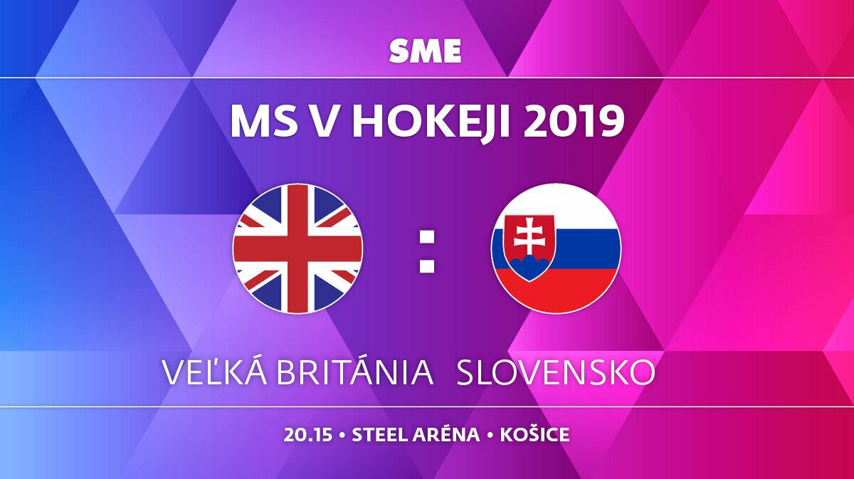8240ce791fb61 Veľká Británia - Slovensko, zápas MS v hokeji 2019, skupina A. Sledujte  online