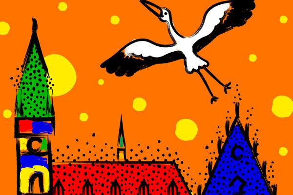 Jeden z plagátov, ktoré znázorňujú mesto Bardejov. Autorkou je grafická dizajnérka z Turecka.