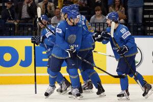 Hokejisti Kazachstanu na ilustračnej fotografii.