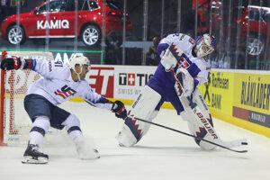 Patrik Rybár v zápase Slovensko - USA na MS v hokeji 2019.