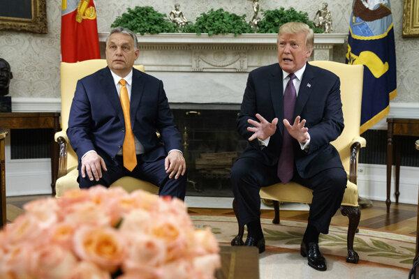 Maďarský premiér Viktor Orbán na stretnutí s americkým prezidentom Donaldom Trumpom.