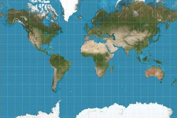 Mapa typu Mercator.