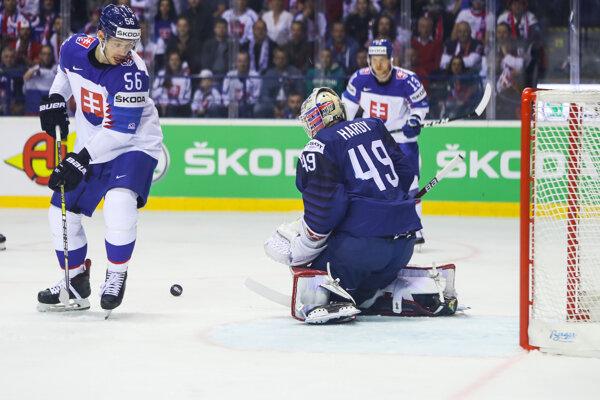 Marko Daňo (vľavo) počas zápasu Francúzsko - Slovensko.