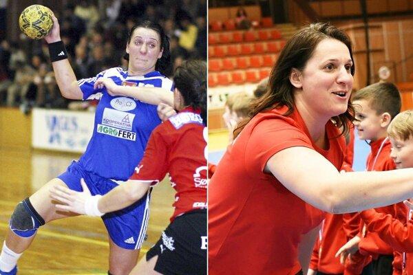 Katarína Dubajová na snímke vľavo v roku 2005 v drese Šale, vpravo v súčasnosti ako trénerka mládeže.