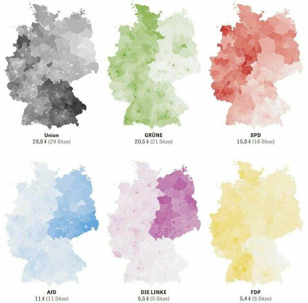 Eurovoľby 2019 v Nemecku podľa strán.