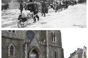 Obyvatelia sa vracajú do La Haye Du Puits a pohľad na mesto ako vyzerá teraz.