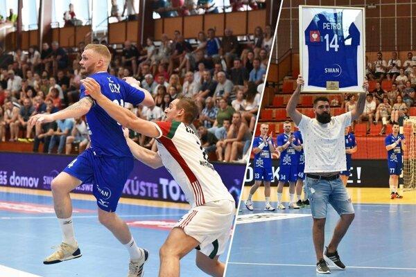 Na snímke vľavo s loptou Vladimír Guzy. Vpravo lúčiaci sa Andrej Petro.