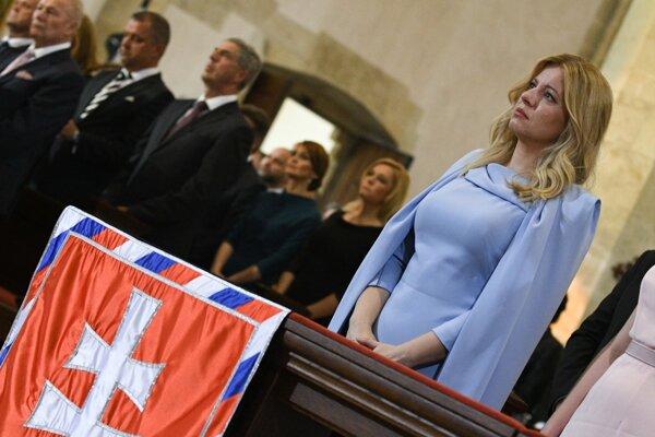 Prezidentka Čaputová počas ekumenickej bohoslužby Te Deum.