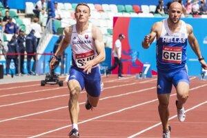 Ján Volko v šprinte na 100 metrov v novej kategórii DNA (Dynamic New Athletics) miešané tímy kvalifikácia A na II. Európskych hrách v Minsku.