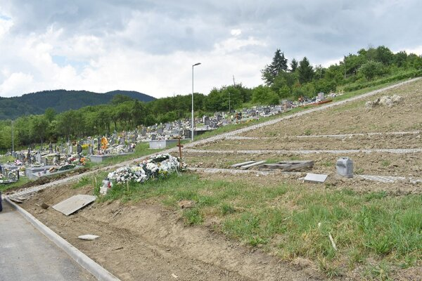 Rozšírená časť cintorína v Papradne.