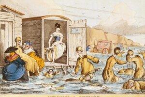 Dobový výjav z prvej polovice 19. storočia zobrazuje ženy v plaveckom oblečení a takzvané kúpacie kabínky.Boli nepraktické a zabárali sa do piesku na pláži,no viktoriánske ženy ich využívali kvôli súkromiu, ktoré poskytovali.
