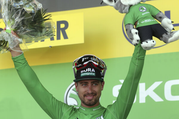 Peter Sagan na oceňovaní po víťaznej 5. etape Tour de France 2019.