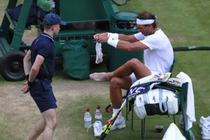 Rafael Nadal v semifinále Wimbledonu 2019.