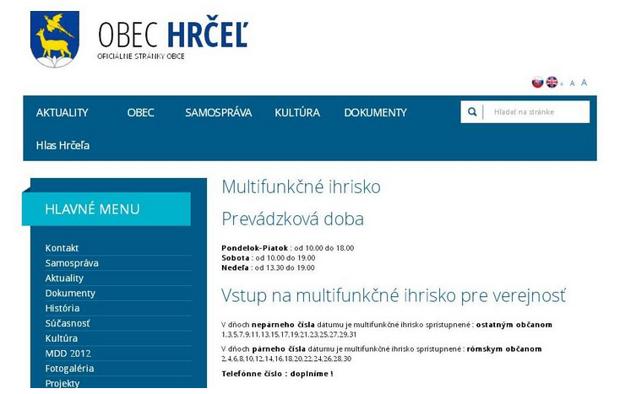 Informácia zverejnená na webovej stránke obce Hrčeľ.