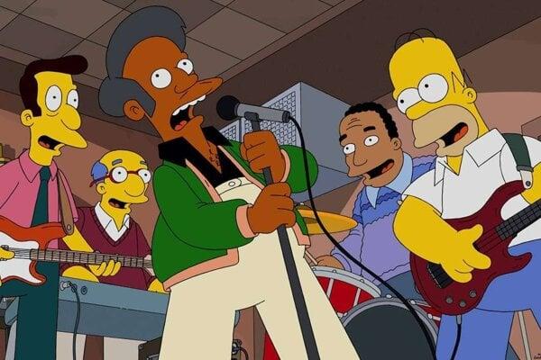 Simpsonovci a indický predavač Apu Nahasapeemapetilon.