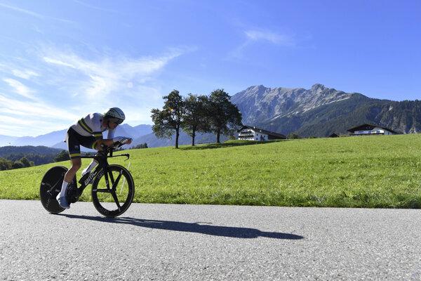 Rohan Dennis na trati časovky mužov Elite na 52,5 km  v rakúskom Innsbrucku 26. septembra 2018.