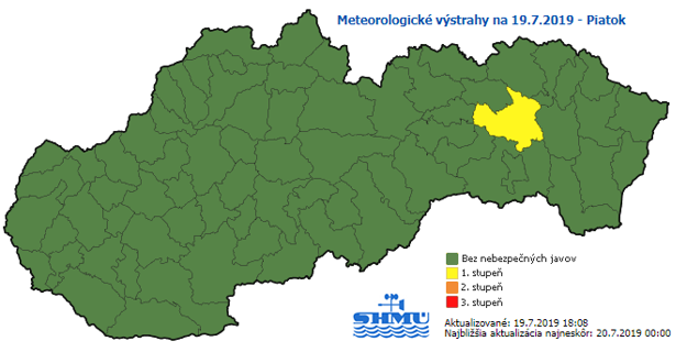 Meteorologická výstraha platí od 18.30 h už len pre okres Prešov. od 18.45 h už ani tam