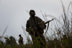 Ukrajinskí vojaci na fronte.
