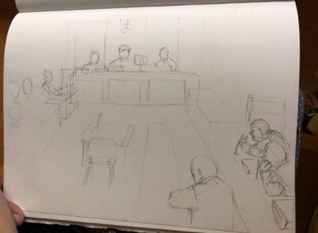 Skica zo súdneho pojednávania.