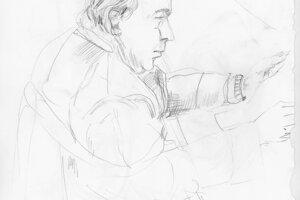 Ako vznikali kresby. Prokurátor Ján Šanta z profilu.