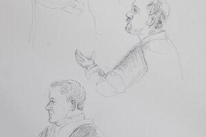 Ako vznikali kresby. Pavla Ruska a Mariána Kočnera zastupujú advokáti Marek Para (hore) a Michal Mandzák (nižšie).