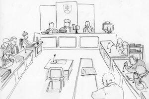 Súdna sieň. Miesto pre Mariana Kočnera zostalo prázdne. Požiadal o konanie v jeho neprítomnosti.