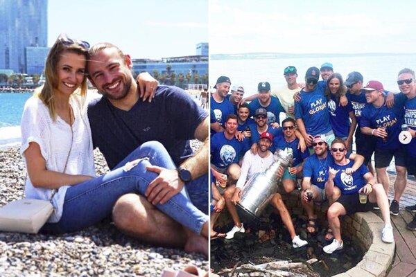 Juraj Šimboch dovolenkoval s priateľkou Barborkou, Kale Kerbashian si užil párty so Stanley Cupom doma v Thunder Bay. Na snímke je druhý sprava.