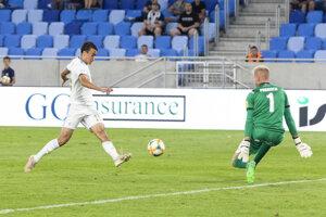 Dávid Strelec v zápase Slovan Bratislava - Zlaté Moravce.