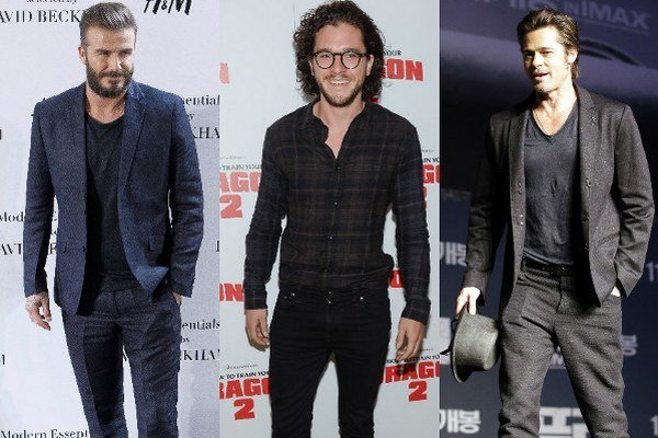 Zľava: David Beckham, Kit Harington, Brad Pitt