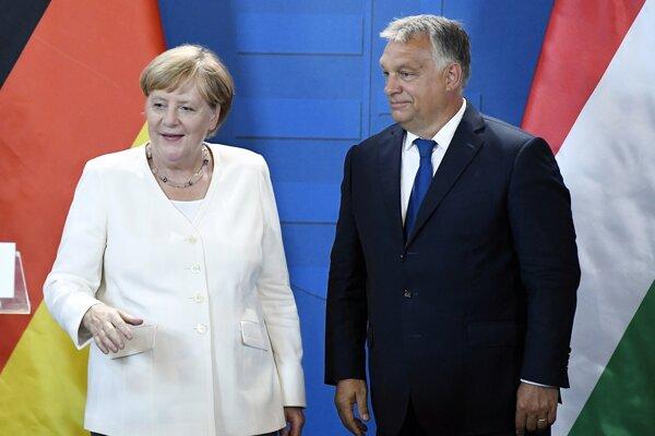 Angela Merkelová a Viktor Orbán.
