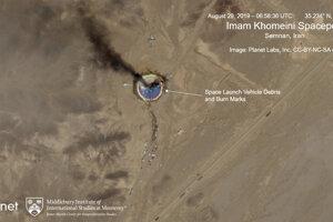 Satelitný snímok miesta výbuchu.
