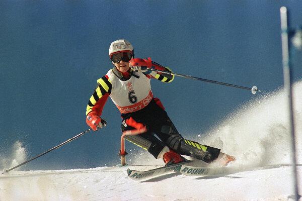 Španielska lyžiarka Blanca Fernandezová Ochoaová počas 1. kola slalomu na ZOH v Calgary 1988.