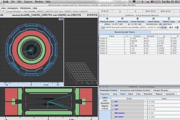 Takto vyzerá zrážka dvoch protónov v analyzačnom prostriedku HYPATIA, s ktorým účastníci pracovali.