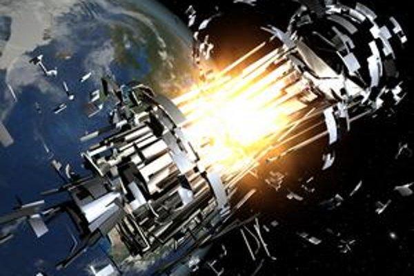 Takto vzniká kozmický odpad: výbuch satelitu na obežnej dráhe Zeme v predstave umelca.