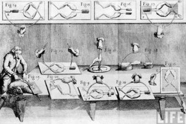 Luigi Galvani na dobovej ilustrácii, ako pracuje na experimente s elektrinou.