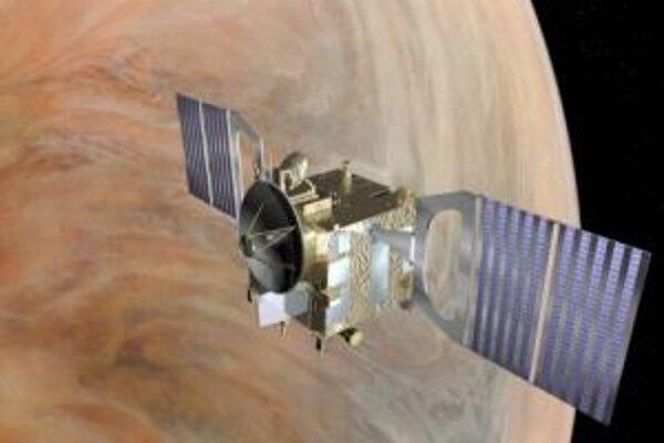 Umelecká vízia sondy Venus Express na orbite okolo Venuše.