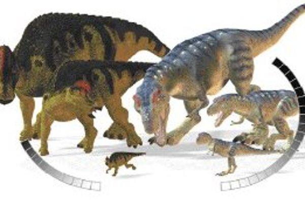 Rýchlosť rastu hypacrosaura (vľavo) v porovnaní s tyranosaurom. Čísla na oblúkových škálach udávajú vek v rokoch.