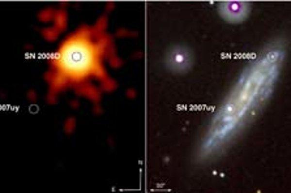 Supernova SN 2007uy v röntgenovom (vľavo) a bežnom svetle, dolu