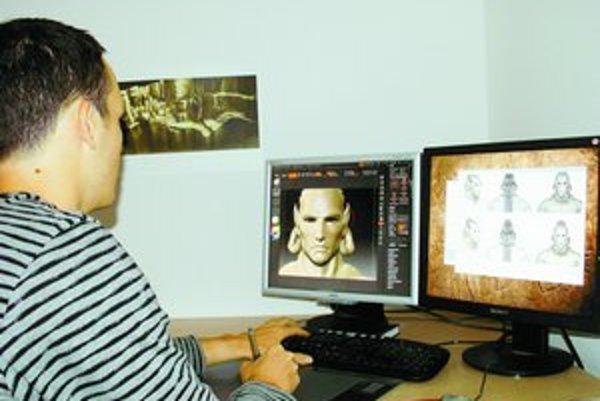 Grafik počítačovej hry pri práci.