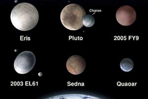 Porovnanie veľkostí Eris/Dysnomie s ostatnými známymi trpasličími planétami a Zemou (dole). Pri Plute a telese 2003 EL61 sú takisto v mierke vyznačené ich známe mesiace.Ilustrácie - NASA/ESA/Adolph Schaller; Caltech.
