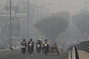 Zadymené ovzdušie v meste Pekanbaru.