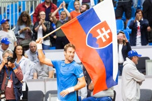 Norbert Gombos po výhre nad Švajčiarskom v Davisovom pohári 2019.