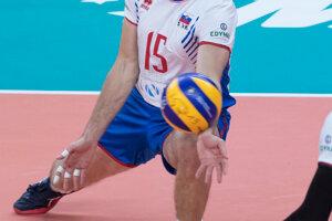 Juraj Zaťko v zápase B-skupiny na ME vo volejbale mužov Slovensko - Belgicko.