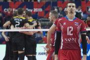 Momentka zo zápasu Slovensko - Nemecko na ME vo volejbale mužov 2019.