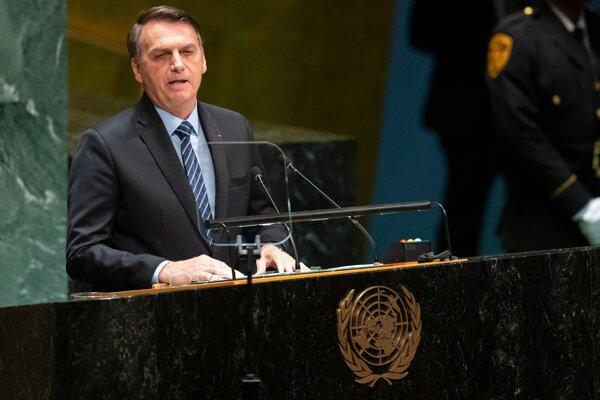 Brazílsky prezident Jair Bolsonaro na Valnom zhromaždení OSN v New Yorku.