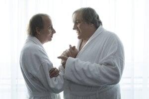 Michel Houellebecq a Gérard Depardieu vo filme Thalasso.